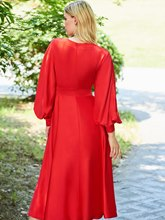 A-Line V-Neck Long Sleeves Evening Dress