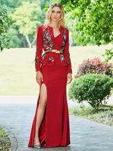 Embroidery Appliques Evening Dress with Long Sleeve