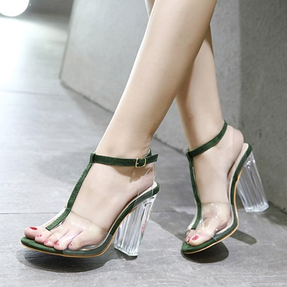 Pellucid Chunky Heel T-bar Strappy Clear Jelly Womens Sandals