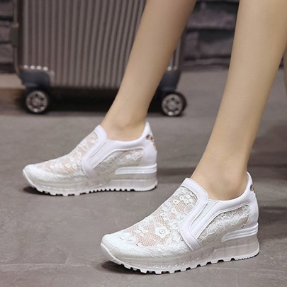 Mesh Lace Patchwork Slip-On Sneaker for Women