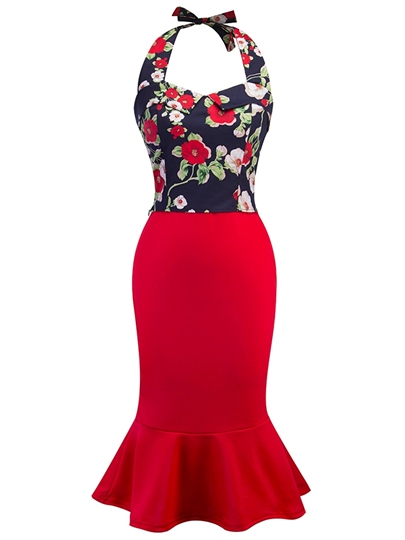 Floral Halter Top and Bodycon Skirt Women's Two Piece Dress