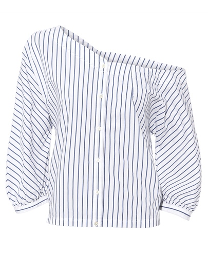 One Shoulder Stripe Single-Breasted Women's Blouse