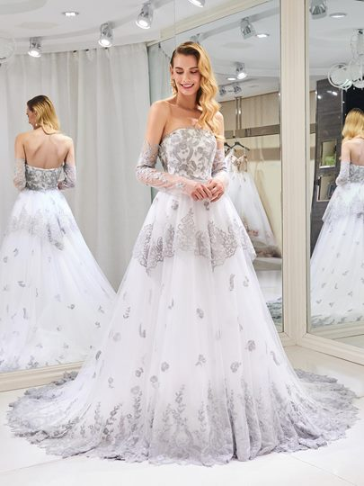 Off the Shoulder Appliques Wedding Dress with Long Sleeve