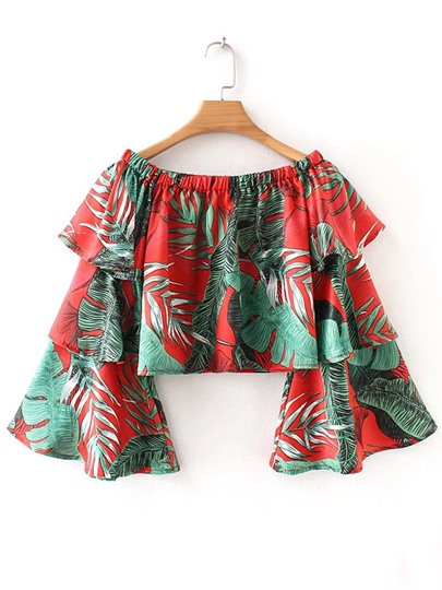 Layered Ruffle Bell Sleeve Plants Print Women's Blouse