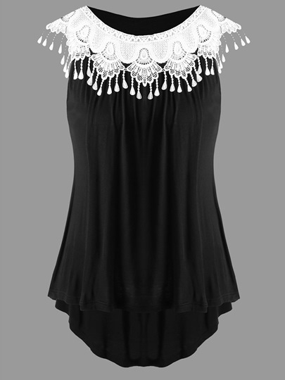 Pleated Plus Size Sleeveless Tassel Women's T-Shirt