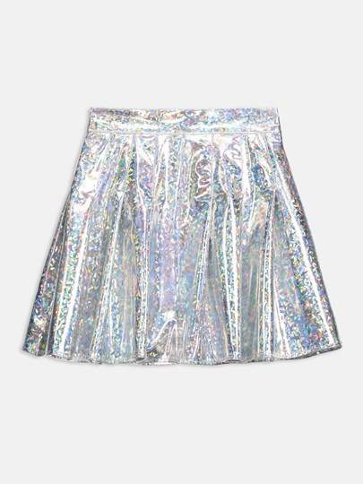 Metallic Box Pleated Women's Skirt