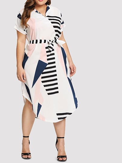 Plus Size Short Sleeve Color Block Prints Day Dress