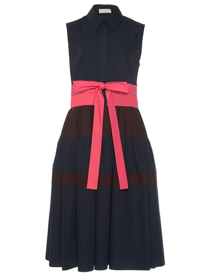 Black Polo Neck Sleeveless Bowknot Waist Day Dress