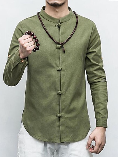 Solid Color Stand Collar Chinoiserie Linen Men's Slim Shirt