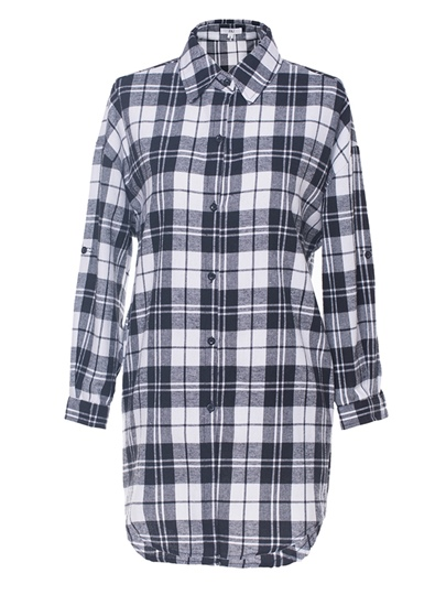 Mid-Length Single-Breasted Plaid Women's Blouse