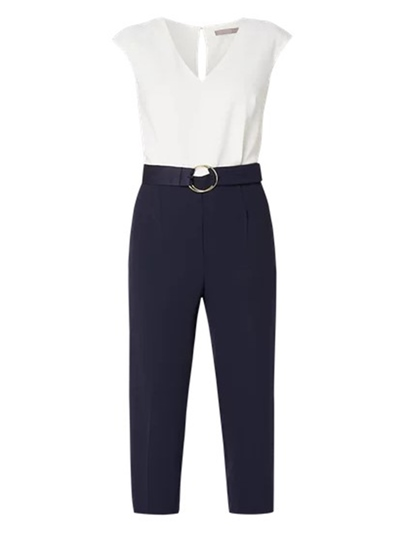 Color Block Sleeveless Belt Women's Jumpsuit
