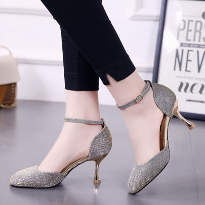 Line-Style Buckle Horse-Shoe Heel Ball Shoes for Women