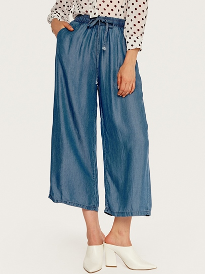 Denim Ankle Self Tie Women's Casual Pants