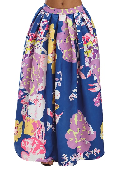 Floral Print Pleated Long Women's Skirt