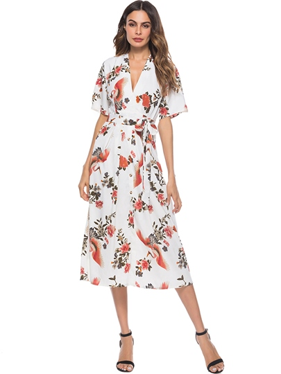 Short Sleeve High-Waist Backless Floral Maxi Dress