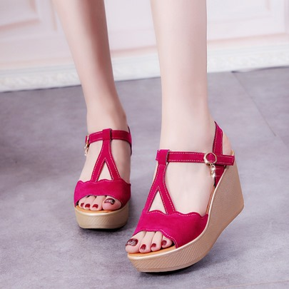 Strappy Wedge Heel T-Shaped Buckle Summer Sandals for Women