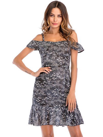 Floral Prints A-Line Off Shoulder Day Dress