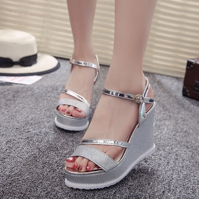 Wedge Heel Buckle Ankle Strap Summer Sandals for Women