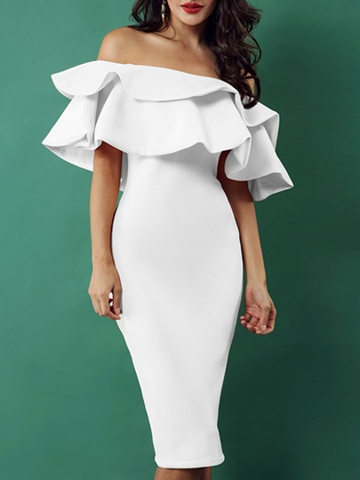 White Ruffle Short Sleeve Elegant Bodycon Dress