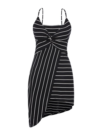 Black Stripe V Neck Sleeveless Bodycon Dress