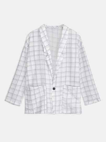 Loose Gingham Pirnt Notched Lapel Women's Blouse