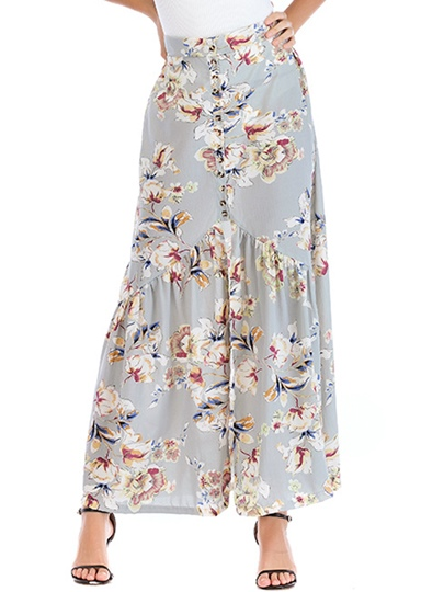 Floral Print Long Women's Skirt