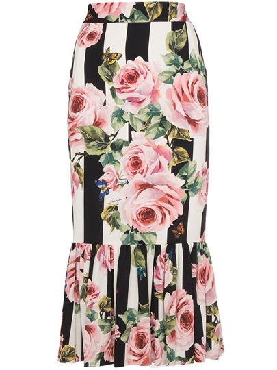 Floral Print Bodycon Long Women's Skirt
