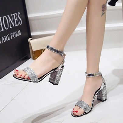 Chunky Heel Line-Style Buckle Sequin Sandals for Women