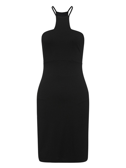 Black Plain Square Neckline Cotton Blends Bodycon Dress