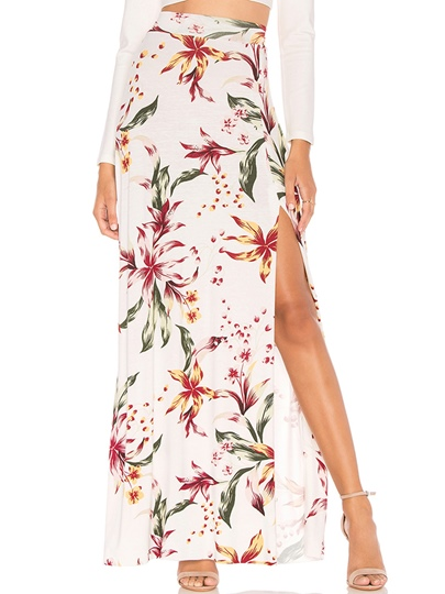 Split Floral Print High Waist Women's Skirt