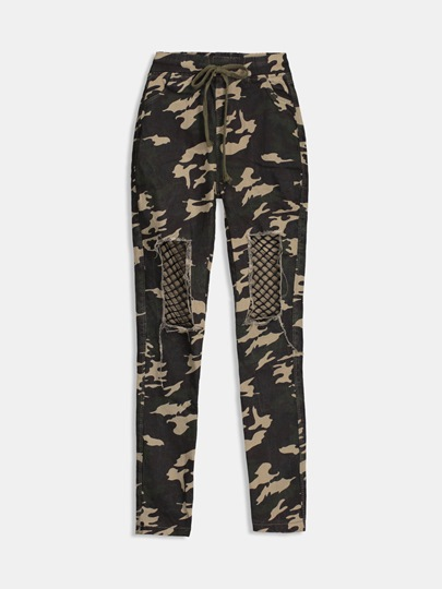 Camo Print Hollow Fishing Net Women's Pants