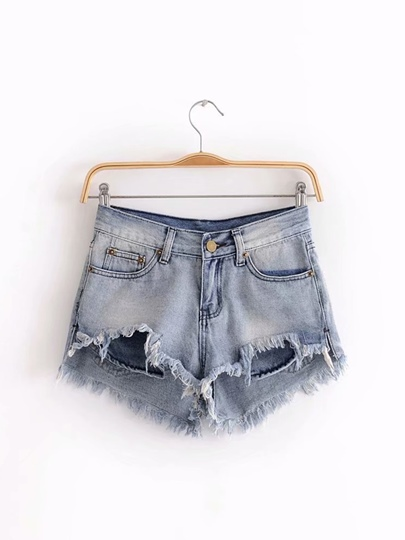Raw Hem Ripped Denim Women's Mom Shorts
