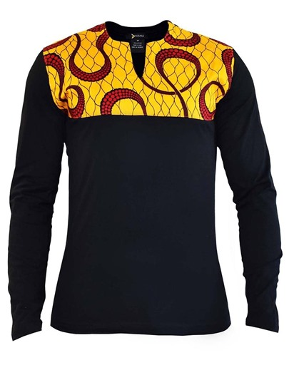 African Print Men's Long Sleeve T-Shirt