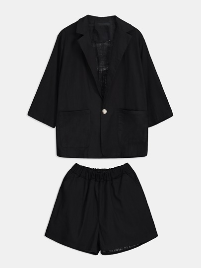 One Button Plain Lapel Women's Two Piece Set