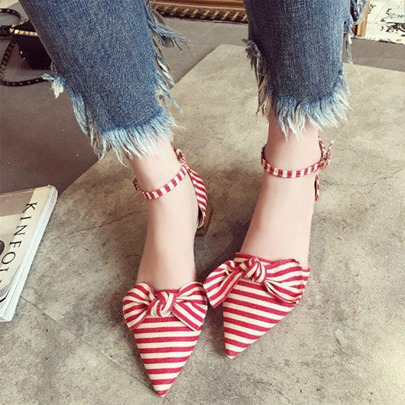 Stripe Pointed Toe Block Heel Bow Sandals for Women
