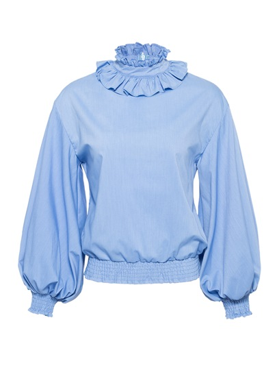 Frill Lantern Sleeve Pleated Women's Blouse