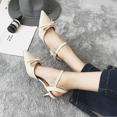 Bow Embellishment Buckle Closed Toe Women's Sandals