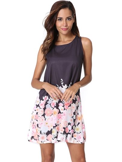 Black Pullover Floral Women's Day Dress