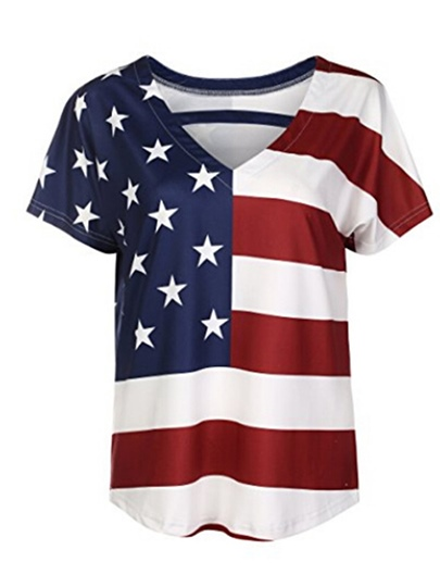 Loose Fit Independence Day Casual Women's T-Shirt