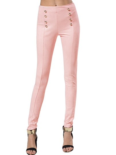 Plain Button High Waist Women's Casual Pants