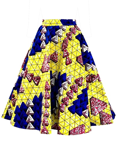 Color Block Print A Line Women's Skirt
