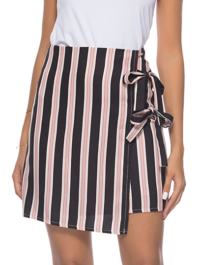 Knot Side Stripe Double Lace-Up Women's Skirt