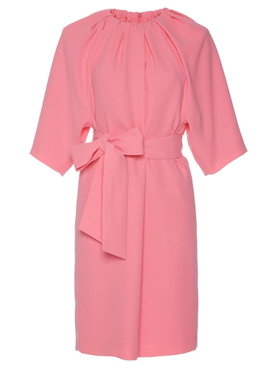 Pink Half Sleeve Tie Waist Elegant Day Dress