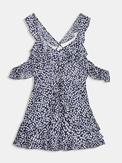 Cold Shoulder Floral Women's Sexy Dress