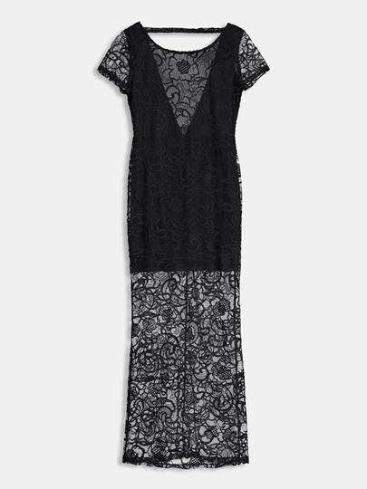 Black Short Sleeve Plain Mesh Lace Dress