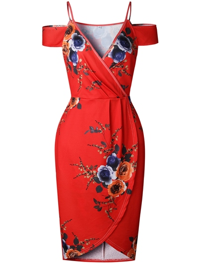 Red Strappy Printing Women's Party Dress
