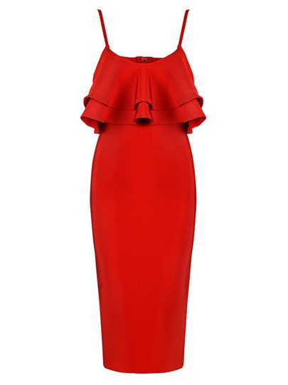 Red Falbala Sleeveless Back Split Bodycon Dress
