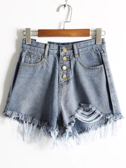 Denim Button Ripped High Waist Women's Shorts