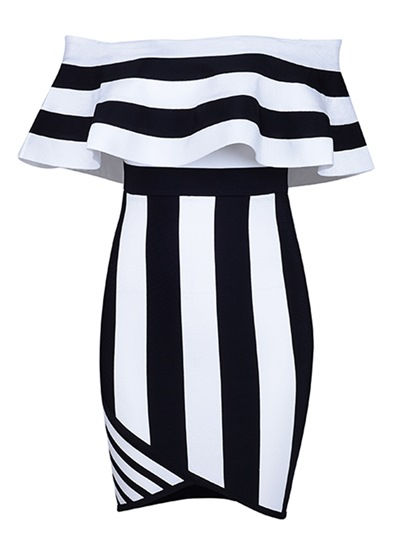 Stripe Off Shoulder Back Zip Slash Neck Bodycon Dress