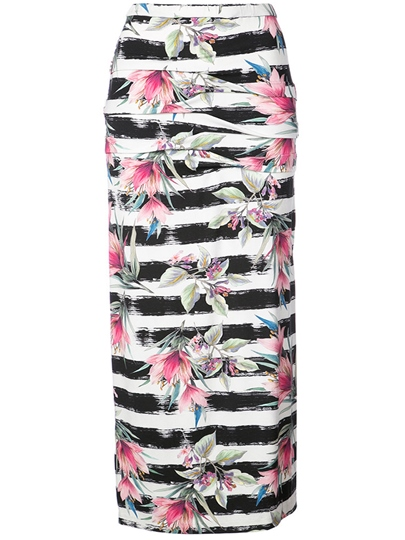Floral Print Color Block Long Women's Skirt